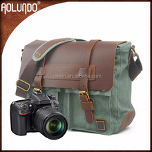 Special shoulder portable canvas with leather digital camera bag