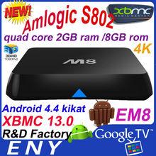 XBMC 13.0 M8 2.0GHz Quad Core Android 4.4 Kitkat Google TV Box amlogic s802 16gb