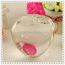 Smooth Clear Crystal Glass Apple For Christmas Gifts