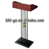 Guangzhou hotel supplies wholesale wooden rostrum design metal lectern podium T5