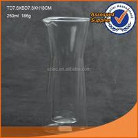 250ml heat resistant double wall glass water bottle