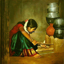 Indian girl oil painting for bedroom decoration