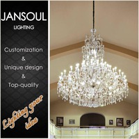 magnifying light promotional modern household k9 crystal decorative chain top chandelier hanging lamps living room