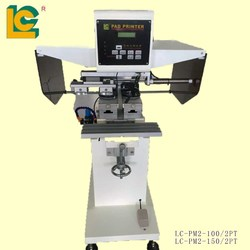 pad shuttle garment neck label 2-color pad printing machine with laser light LC-PM2-100-2PTL