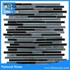 Sliver mixed black strip glass mosaic tile mixed metal mosaic
