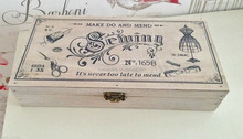 """New 24cm Vintage Style """"Make Do And Mend"""" Wooden Button Storage Sewing Box"""