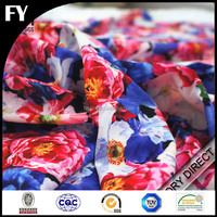 Custom new design high quality digital printing flower printed chiffon fabric