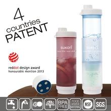 2015 new products plastic fitness plain joy shaker water bottle filter