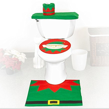 3 pcs Green elf christmas toilet seat cover and rug set new for 2015