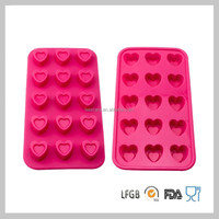15-Heart Shape Eco-friendly Silicone Ice Cube Tray