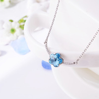 Wholesale High Quality Luxury An Illusion Blue Zircon Crystal Pendant Necklace