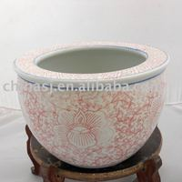 Chinese Porcelain Fish Bowl or Planter Pink Color WRYHC03