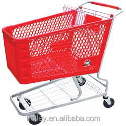 Standard plastic supermarket shopping trolley