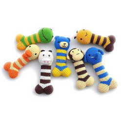 Multicolor cartoon animals style Pet Toys cotton rope Crocheted toys Dog bites Bone Funny play toys for Small dog / Cat