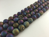 Rainbow Druzy Beads, Round druzy agate bead Supplies 10mm 12mm 14mm