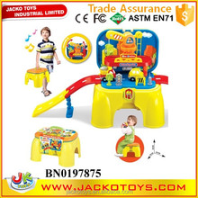 New carry-on engineering car track set toy 2 in 1 baby toy track car with step stool
