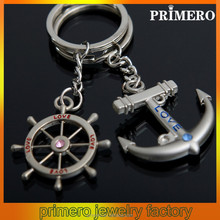 PRIMERO fashion Diamonds Creative metal Key chain Rudder Couple keychain anchor key chain