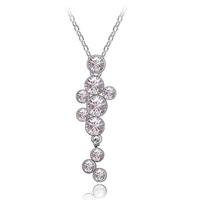 fashion 18k white gold swarovski element crystal long hanging necklace