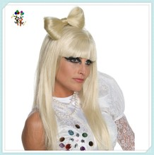 Lady Gaga Bow Clip Blonde Synthetic Fashion Wigs HPC-1119