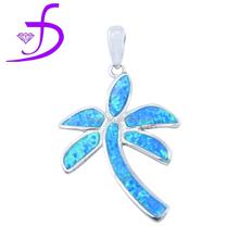 2015 Unique design 925 silver jewelry hawaiian style big opal coconut tree pendant