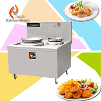 Double woks burns 25kw low price chinese manufacture stainless steel commercial induction cooker with sink bowl