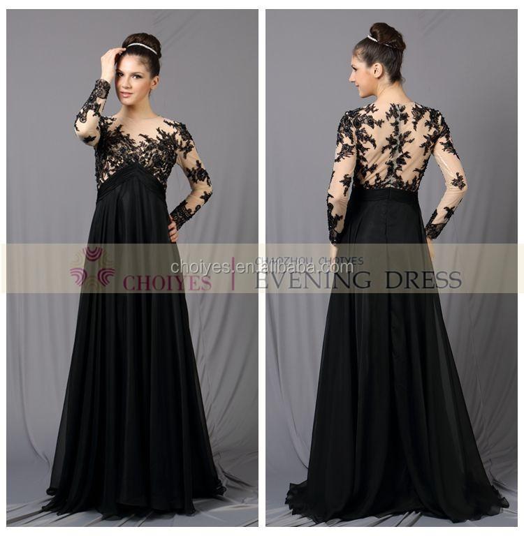 Black Wholesale Plus Size Pakistani Long Sleeve Chiffon ...