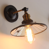 Vintage industrial iron art mirror umbrella shaped wall lamp for coffee shop/livingroom
