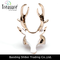 Fashion accessories exaggerated style enamel deer head oil painting zinc alloy ring for young