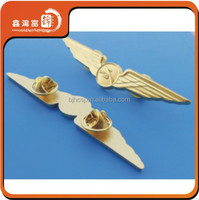 customized Plated Technique custom metal pilot wings pin badge