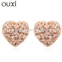 OUXI 2015 Fashion Heart Earing Jewellery made with Austrian Crystals 20253