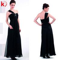 Gorgeous strap one shoulder black chiffon wedding evening dress women formal night party dress
