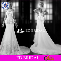 XL837 new design cap sleeve lace peplum fishtail backless tunisian wedding dress 2014