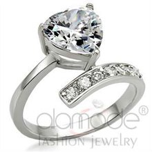Be My Valentine Heart Stainless Steel Diamond Ring