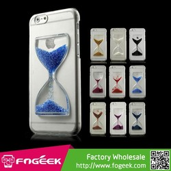 High Quality 3D Effect Hourglass Drift Sand Crystal Clear Plastic Hard Case for iPhone 6 Plus