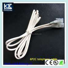 High quality 6 ft RJ11 6P4C telephone cable with white PVC jacket wholesale