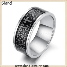 Wholesale New Fashion Black And White 10mm wide enamel two tone bands, stainless steel christian ring with scripture engraving