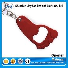 aluminum foot shaped cheap bottle opener keychains