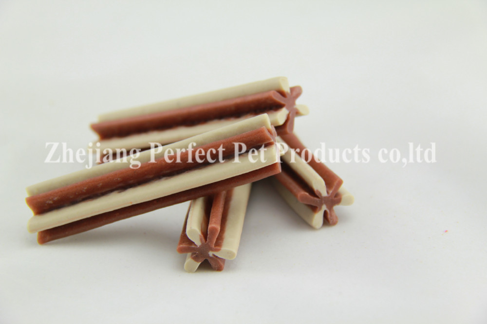 pet food container (two-tone straight hexagonal natural dog chewing bone)