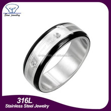 Wholesale Diamond Titanium Jewelry Ring, Titanium Diamond Rings, Titanium and 0.10 CTW Diamond Brushed Comfort Fit Band