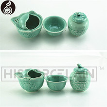 tea for one set wholesale decal drinkware antique plated tea set gold plated hand painted celadon tea set