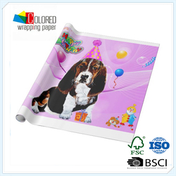 Wholesale Wrapping Paper Rolls Printed Dog for Birthday Gift