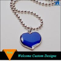 Fashion necklace enamel color changing heart shape mood necklaces