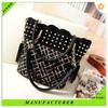 Gold sparkle black durable pu leather women trendy handbag