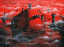 Air island abstract red sky oil painting on canvas
