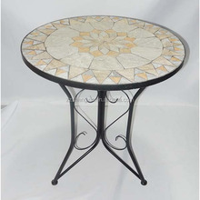 Metal Mosaic Table, Outdoor Round Dining Table for Garden