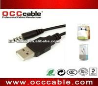 5ft Black USB to 3.5mm Audio Stereo Headphone Jack Plug Cable