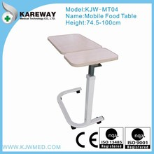 Gas spring adjustable mobile food table for hospital