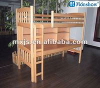 soild wood bunk bed with writing-desk