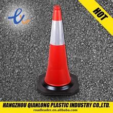 "PE plastic 30""traffic cone with super black base"