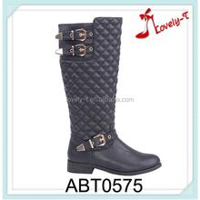 three buckles wooden heel woman side zipper boots elastic side wholesale western low heel over knee ladies frye boots